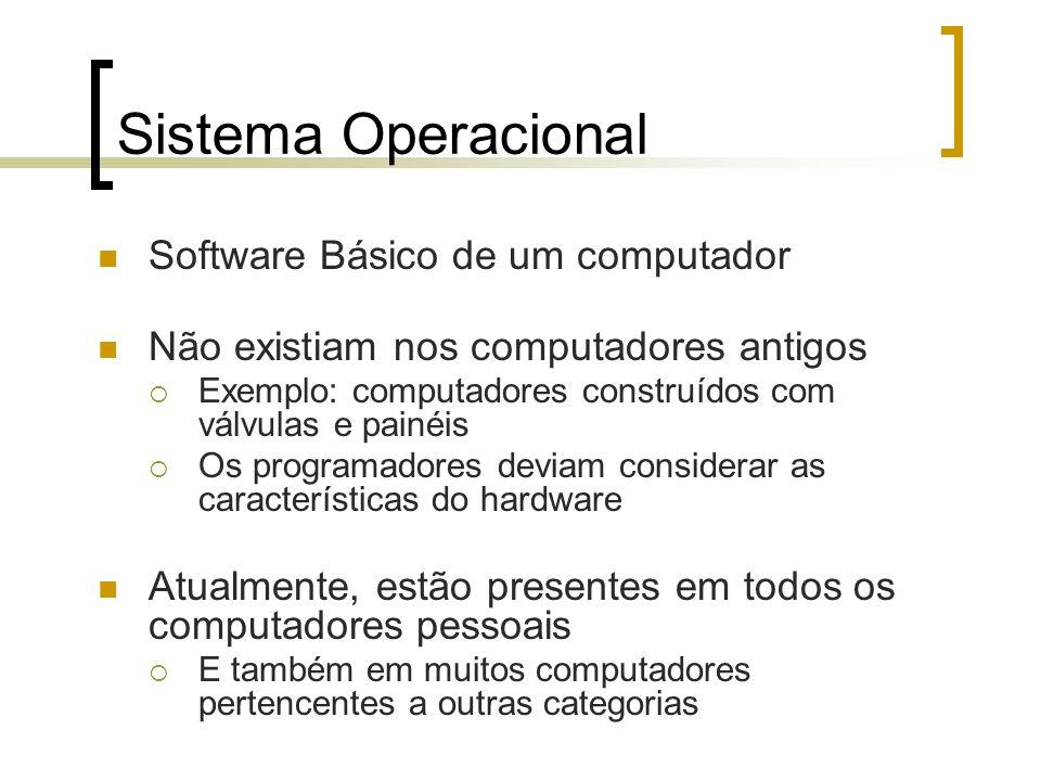 Sistema Operacional Software Básico de um computador Não existiam nos computadores antigos Exemplo: computadores construídos com válvulas e painéis Os programadores deviam considerar as características do hardware Atualmente, estão presentes em todos os computadores pessoais E também em muitos computadores pertencentes a outras categorias