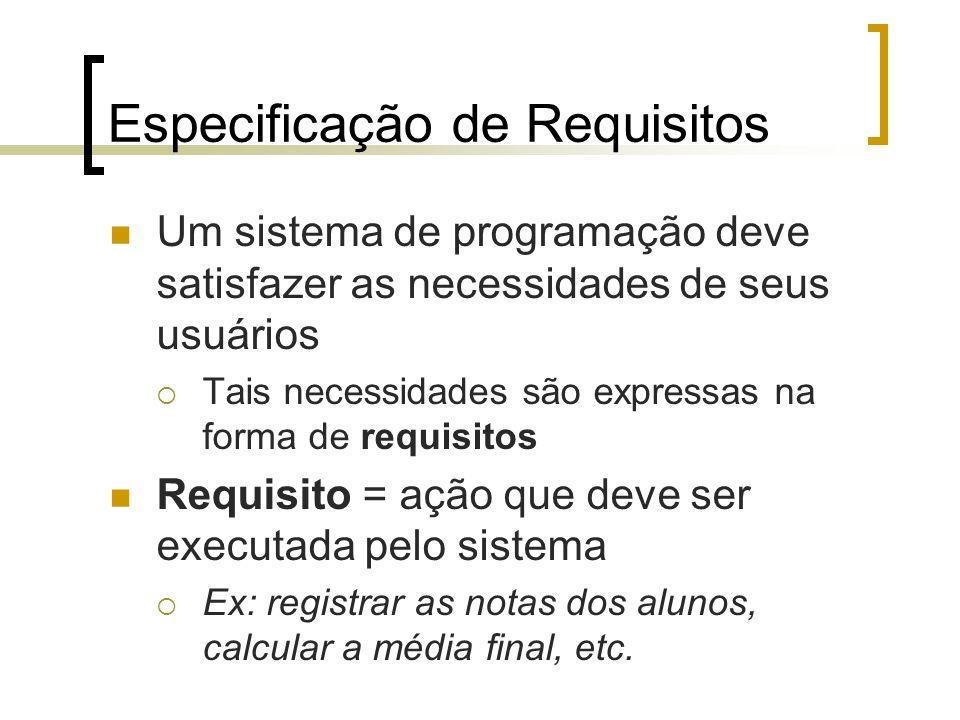 Especificação de Requisitos Um sistema de programação deve satisfazer as necessidades de seus usuários Tais necessidades são expressas na forma de requisitos Requisito = ação que deve ser executada pelo sistema Ex: registrar as notas dos alunos, calcular a média final, etc.