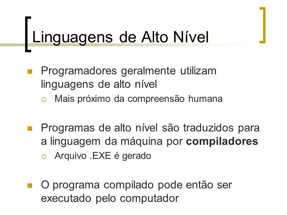 Linguagens de Alto Nível Programadores geralmente utilizam linguagens de alto nível Mais próximo da compreensão humana Programas de alto nível são traduzidos para a linguagem da máquina por compiladores Arquivo.EXE é gerado O programa compilado pode então ser executado pelo computador