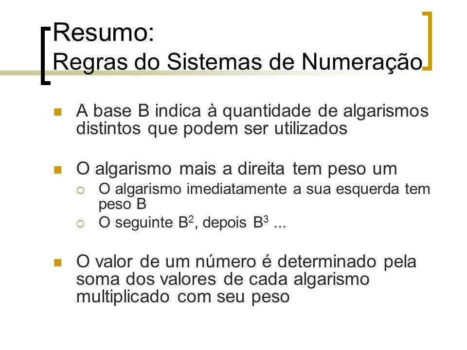 Resumo: Regras do Sistemas de Numeração A base B indica à quantidade de algarismos distintos que podem ser utilizados O algarismo mais a direita tem peso um O algarismo imediatamente a sua esquerda tem peso B O seguinte B 2, depois B 3...