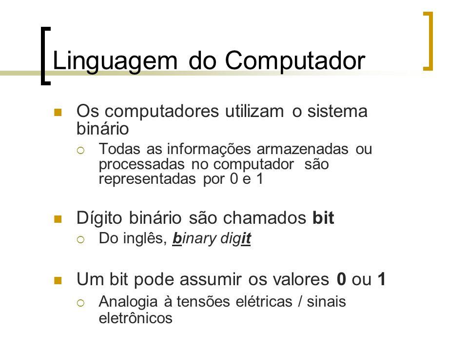 Linguagem do Computador Os computadores utilizam o sistema binário Todas as informações armazenadas ou processadas no computador são representadas por 0 e 1 Dígito binário são chamados bit Do inglês, binary digit Um bit pode assumir os valores 0 ou 1 Analogia à tensões elétricas / sinais eletrônicos