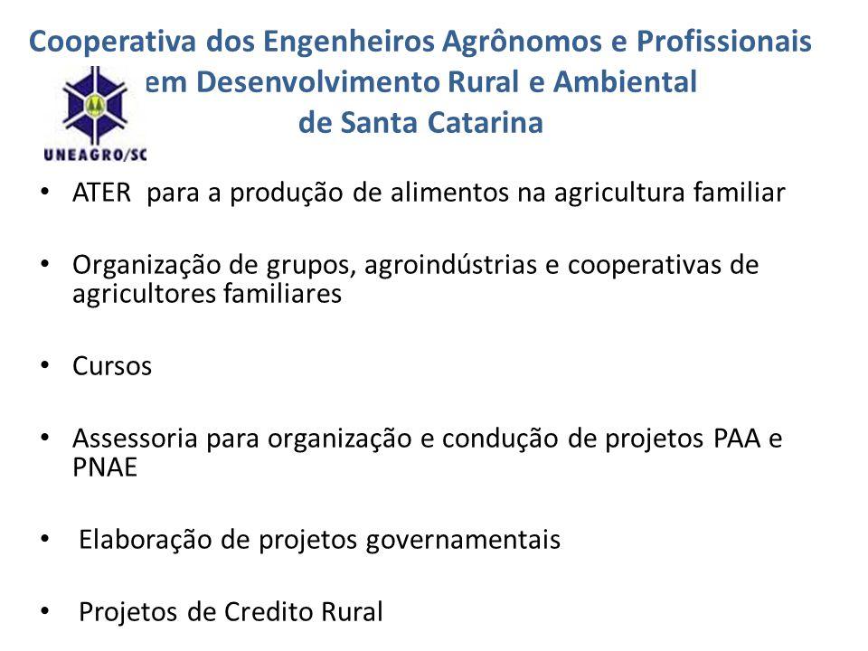 Cooperativa dos Engenheiros Agrônomos e Profissionais em Desenvolvimento Rural e Ambiental de Santa Catarina ATER para a produção de alimentos na agri
