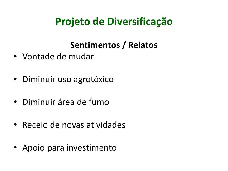 Projeto de Diversificação Principais ações: Capacitações ATER Cooperativismos, associativismo Agroecologia e Certificação Orgânica Programas Institucionais (PAA e PNAE) Comercialização CEASA Tubarão e São José Projetos de credito rural