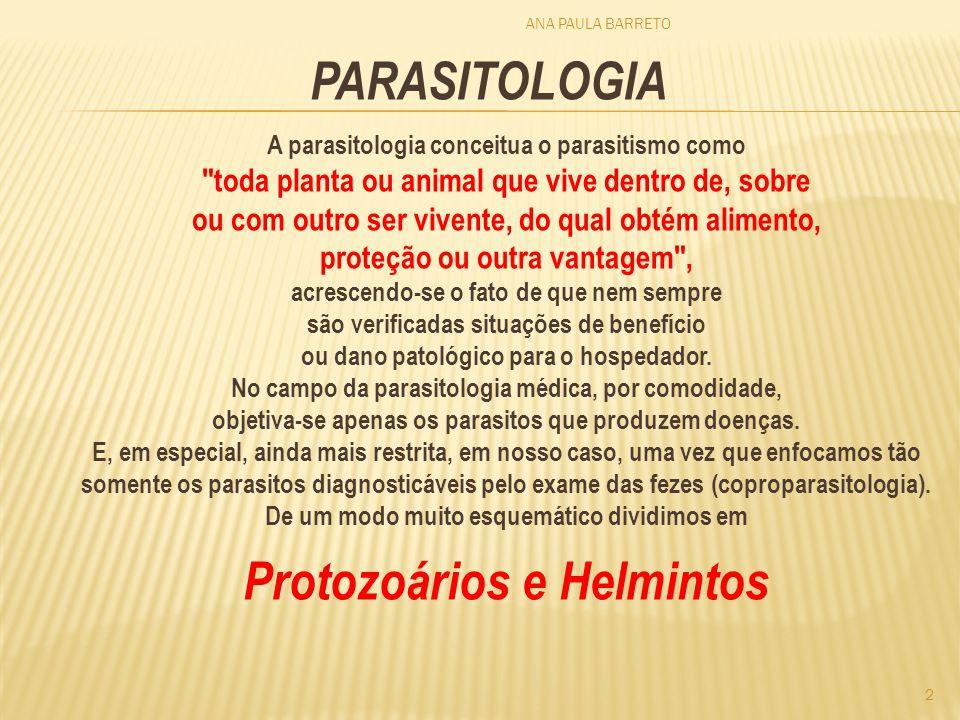 ANA PAULA BARRETO 2 PARASITOLOGIA A parasitologia conceitua o parasitismo como