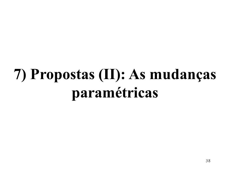 38 7) Propostas (II): As mudanças paramétricas