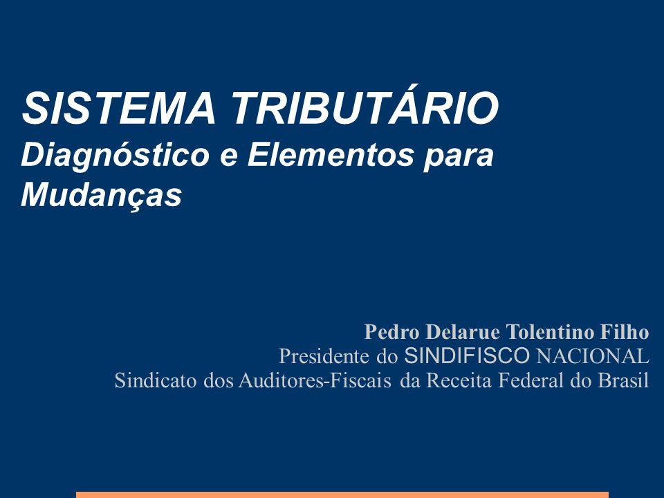 SISTEMA TRIBUTÁRIO Diagnóstico e Elementos para Mudanças Pedro Delarue Tolentino Filho Presidente do SINDIFISCO NACIONAL Sindicato dos Auditores-Fisca
