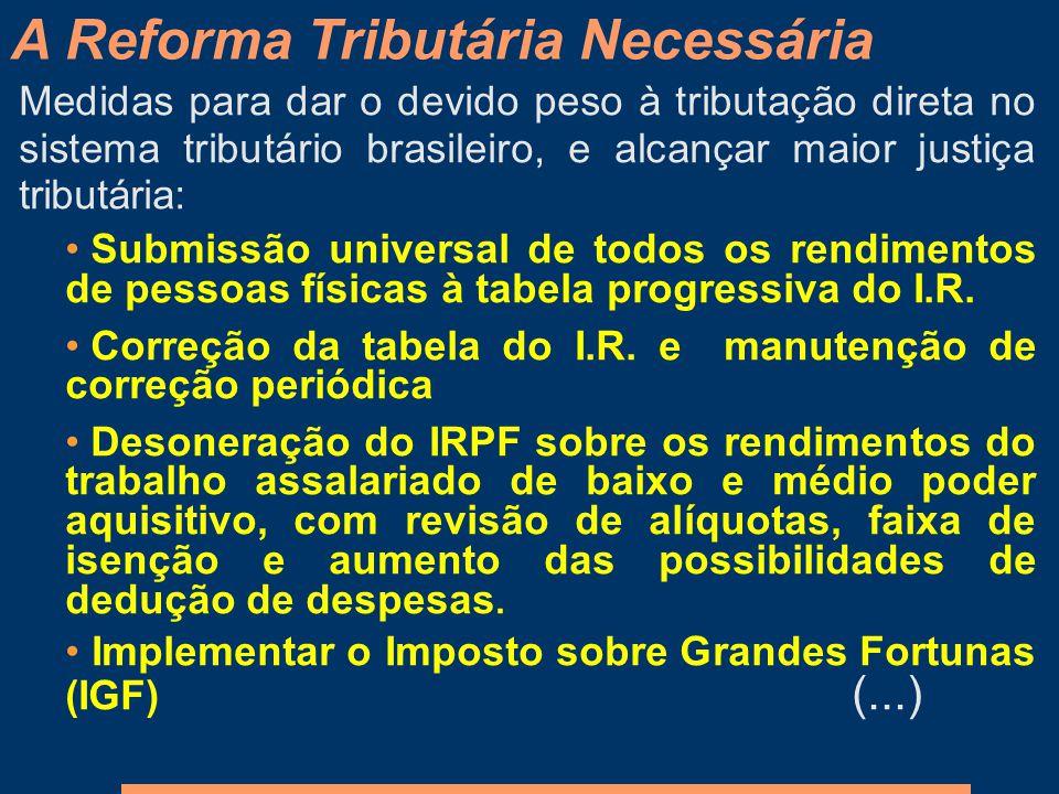 Medidas para dar o devido peso à tributação direta no sistema tributário brasileiro, e alcançar maior justiça tributária: Submissão universal de todos