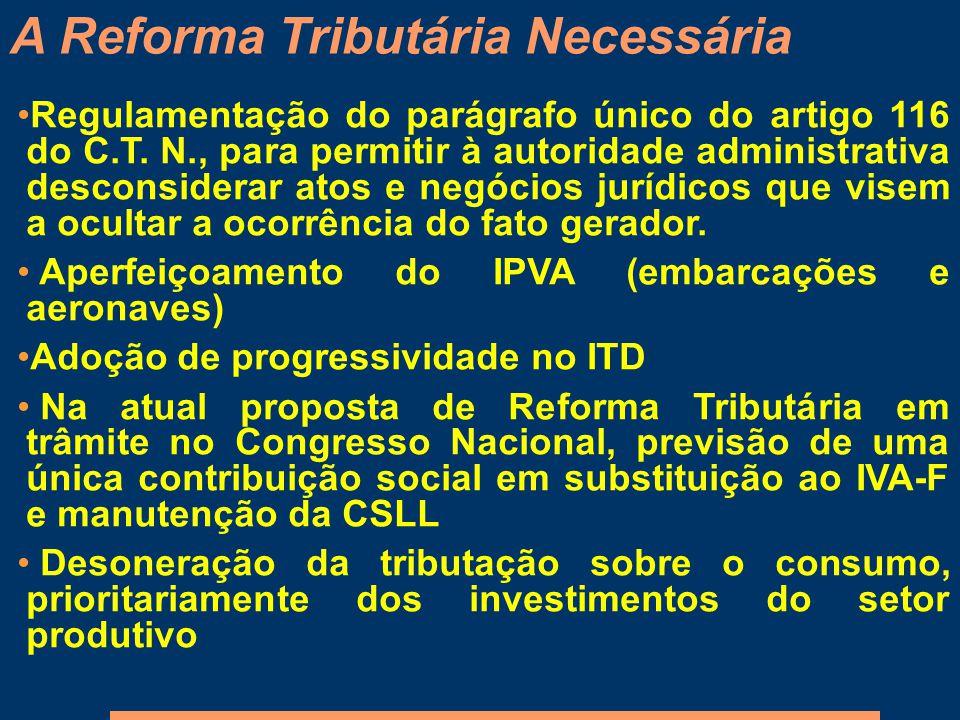 Regulamentação do parágrafo único do artigo 116 do C.T. N., para permitir à autoridade administrativa desconsiderar atos e negócios jurídicos que vise