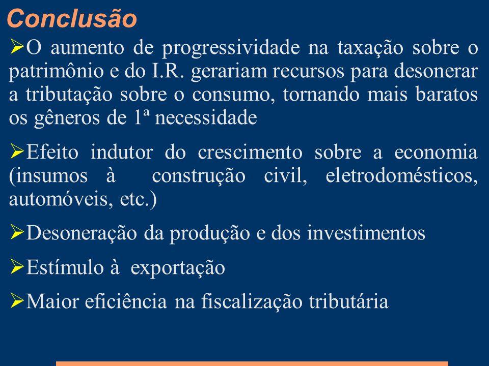 O aumento de progressividade na taxação sobre o patrimônio e do I.R. gerariam recursos para desonerar a tributação sobre o consumo, tornando mais bara