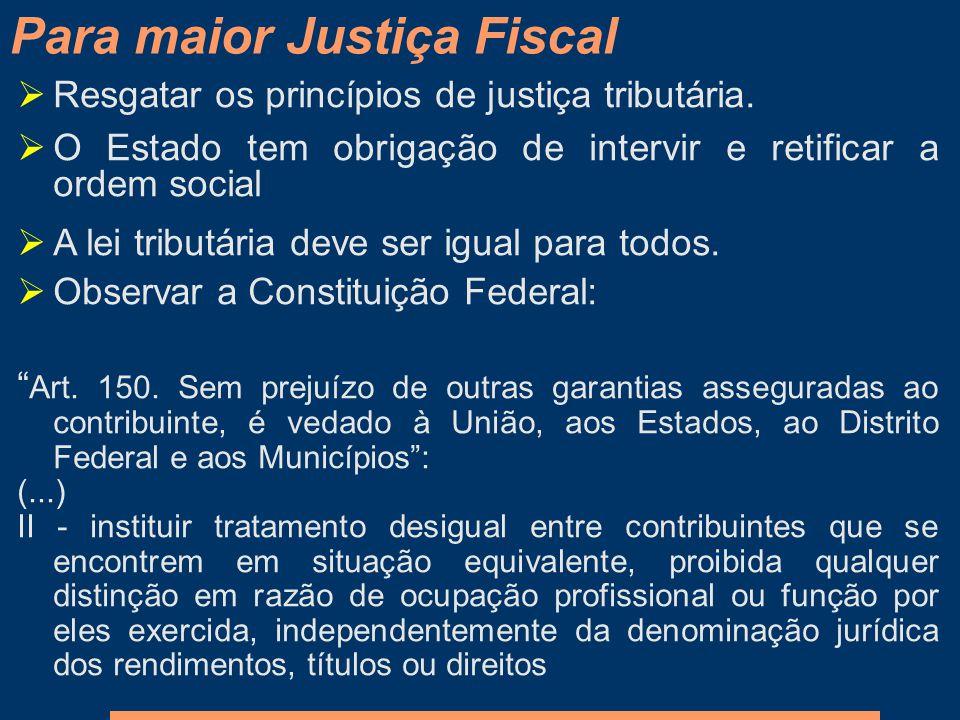 Resgatar os princípios de justiça tributária. O Estado tem obrigação de intervir e retificar a ordem social A lei tributária deve ser igual para todos