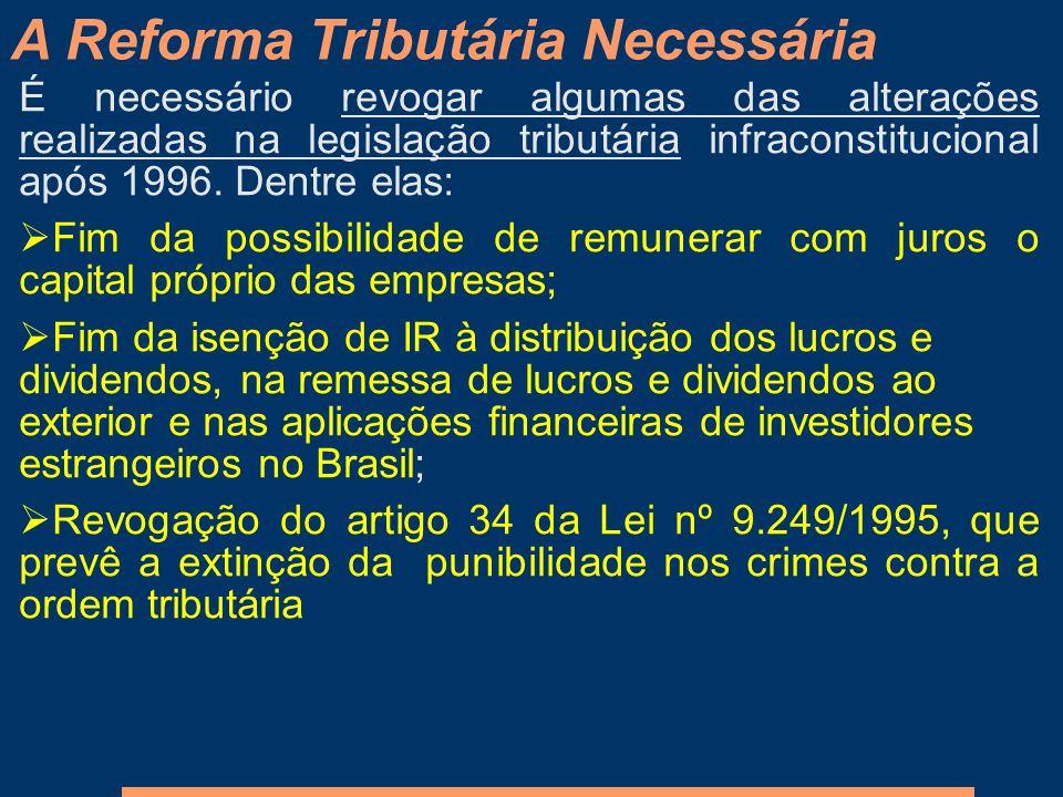 É necessário revogar algumas das alterações realizadas na legislação tributária infraconstitucional após 1996. Dentre elas: Fim da possibilidade de re
