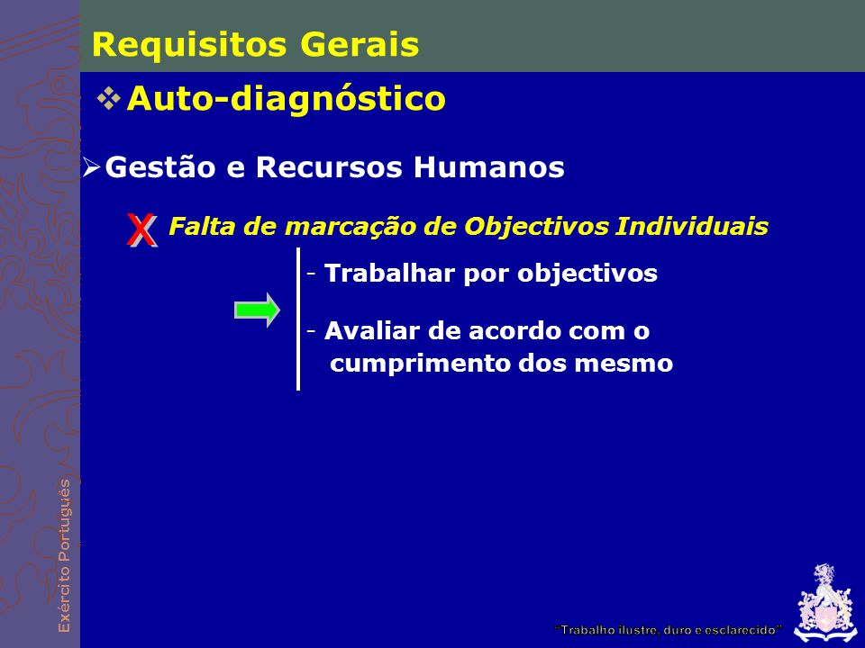 Exército Português Requisitos Gerais Auto-diagnóstico Doc pouco Operacionais - Objectivos mensuráveis - Metas e indicadores definidos Orientação para resultados e Melhoria Continua Avaliações objectivas, mas sem leitura directa dos documentos de planeamento Inconsequência das propostas - Documentos de seguimento - Acções desenvolvidas