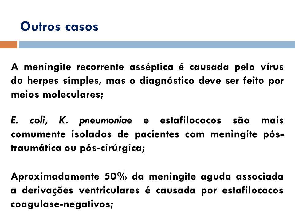 Outros casos A meningite recorrente asséptica é causada pelo vírus do herpes simples, mas o diagnóstico deve ser feito por meios moleculares; E. coli,