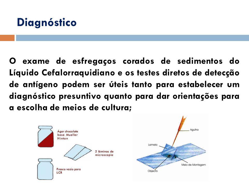 Diagnóstico O exame de esfregaços corados de sedimentos do Líquido Cefalorraquidiano e os testes diretos de detecção de antígeno podem ser úteis tanto