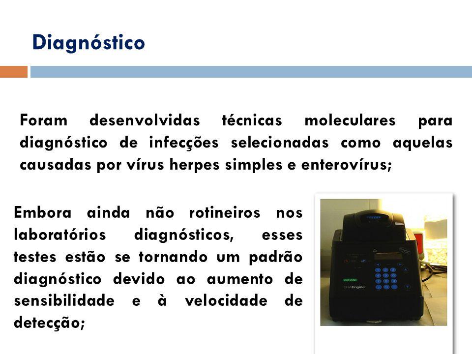 Diagnóstico Foram desenvolvidas técnicas moleculares para diagnóstico de infecções selecionadas como aquelas causadas por vírus herpes simples e enter
