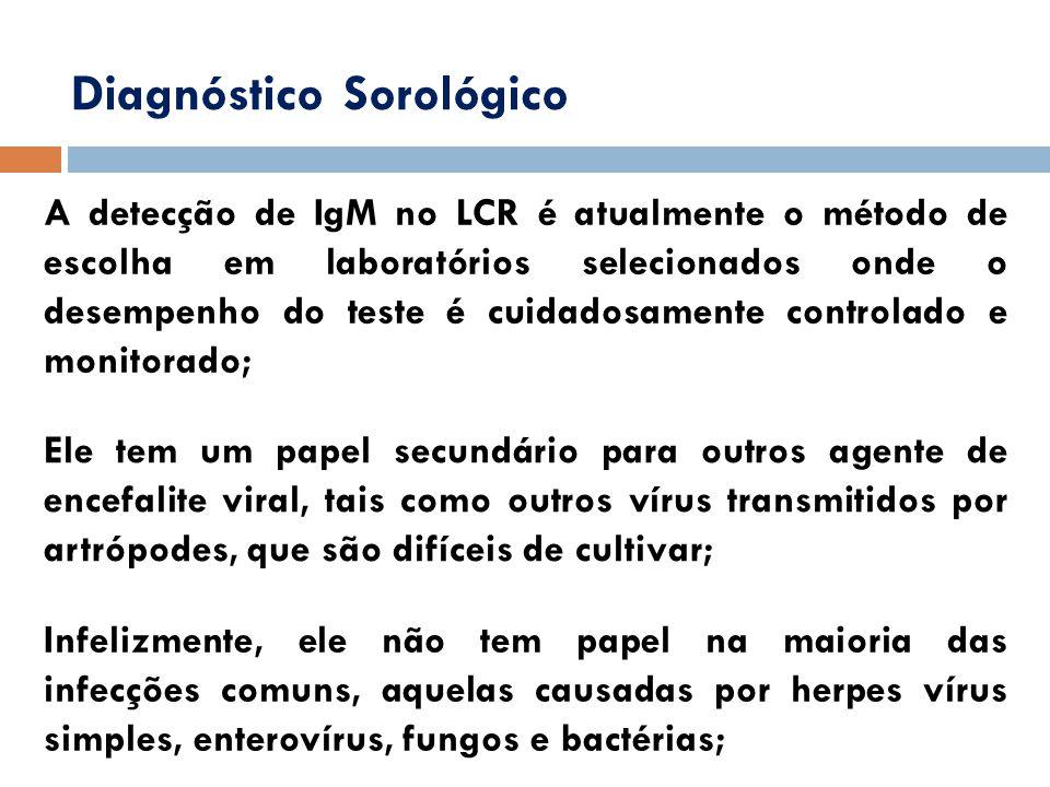 Diagnóstico Sorológico A detecção de IgM no LCR é atualmente o método de escolha em laboratórios selecionados onde o desempenho do teste é cuidadosame