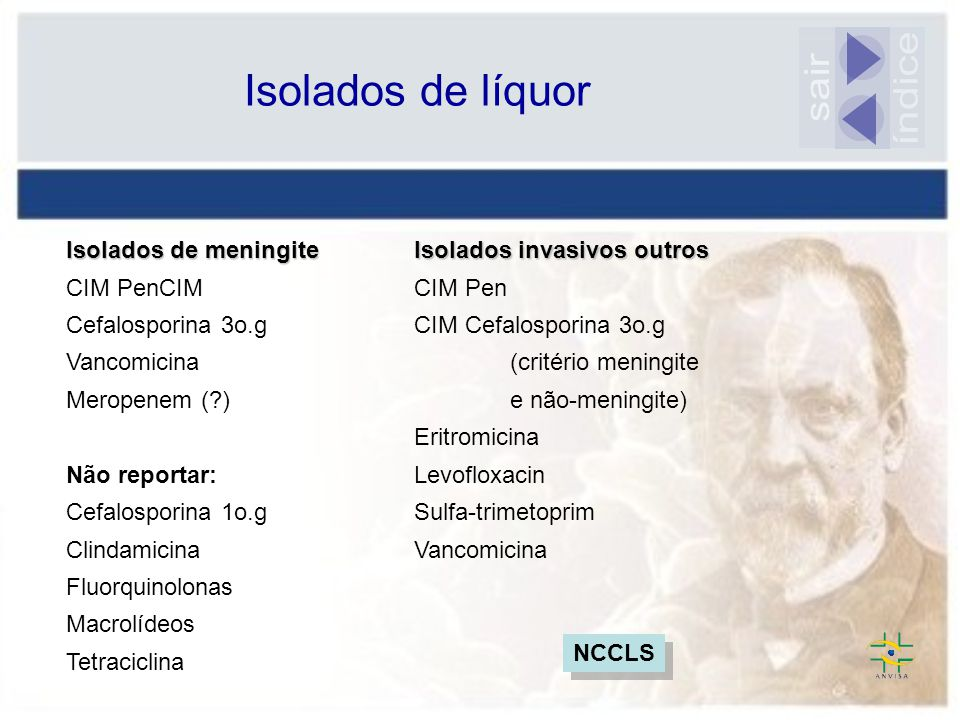 Isolados de meningite CIM PenCIM Cefalosporina 3o.g Vancomicina Meropenem (?) Não reportar: Cefalosporina 1o.g Clindamicina Fluorquinolonas Macrolídeo