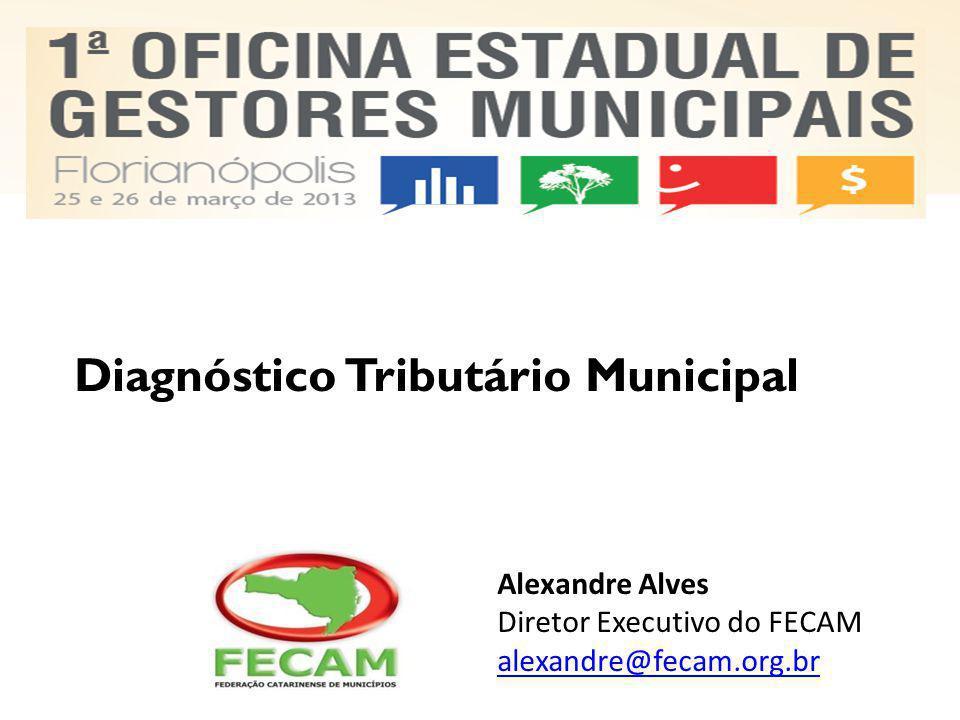 Diagnóstico Tributário Municipal Alexandre Alves Diretor Executivo do FECAM alexandre@fecam.org.br