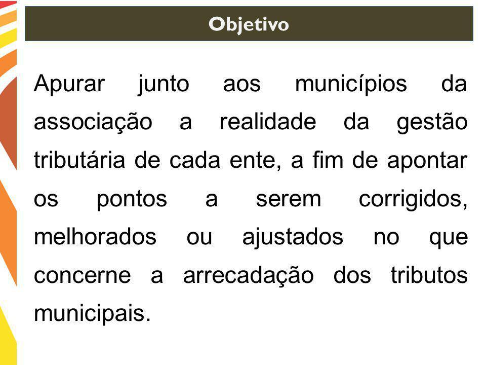 Apurar junto aos municípios da associação a realidade da gestão tributária de cada ente, a fim de apontar os pontos a serem corrigidos, melhorados ou