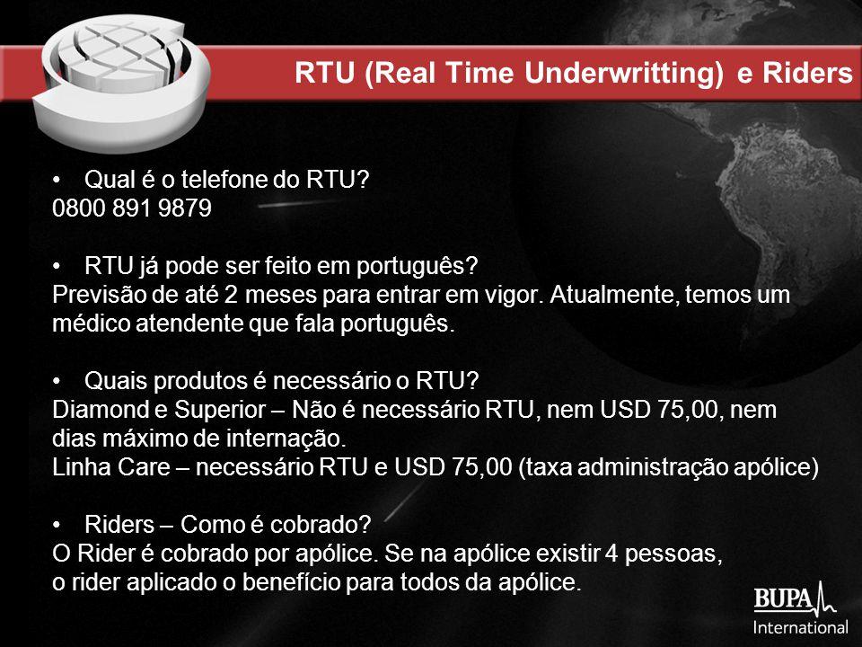 RTU (Real Time Underwritting) e Riders Qual é o telefone do RTU.