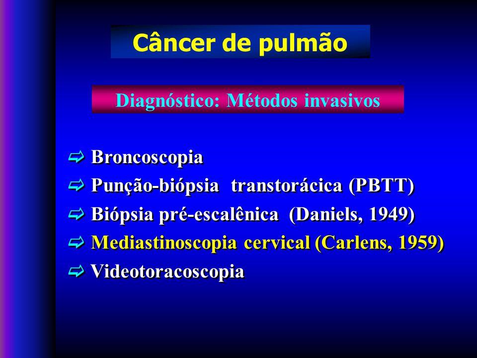 Broncoscopia Punção-biópsia transtorácica (PBTT) Biópsia pré-escalênica (Daniels, 1949) Mediastinoscopia cervical (Carlens, 1959) Videotoracoscopia Broncoscopia Punção-biópsia transtorácica (PBTT) Biópsia pré-escalênica (Daniels, 1949) Mediastinoscopia cervical (Carlens, 1959) Videotoracoscopia Diagnóstico: Métodos invasivos Câncer de pulmão