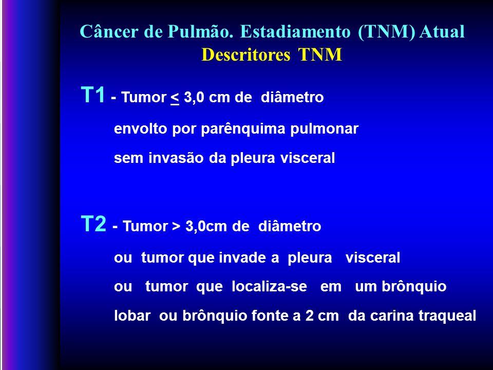 T1 - Tumor < 3,0 cm de diâmetro envolto por parênquima pulmonar sem invasão da pleura visceral T2 - Tumor > 3,0cm de diâmetro ou tumor que invade a pleura visceral ou tumor que localiza-se em um brônquio lobar ou brônquio fonte a 2 cm da carina traqueal Câncer de Pulmão.