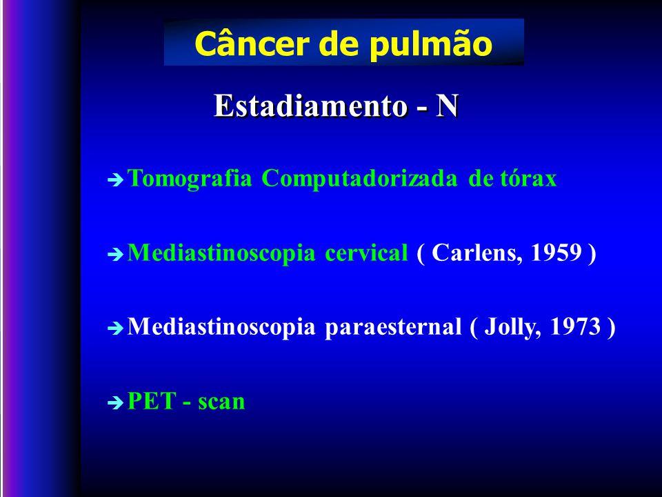 è Tomografia Computadorizada de tórax è Mediastinoscopia cervical ( Carlens, 1959 ) è Mediastinoscopia paraesternal ( Jolly, 1973 ) è PET - scan Estadiamento - N Câncer de pulmão