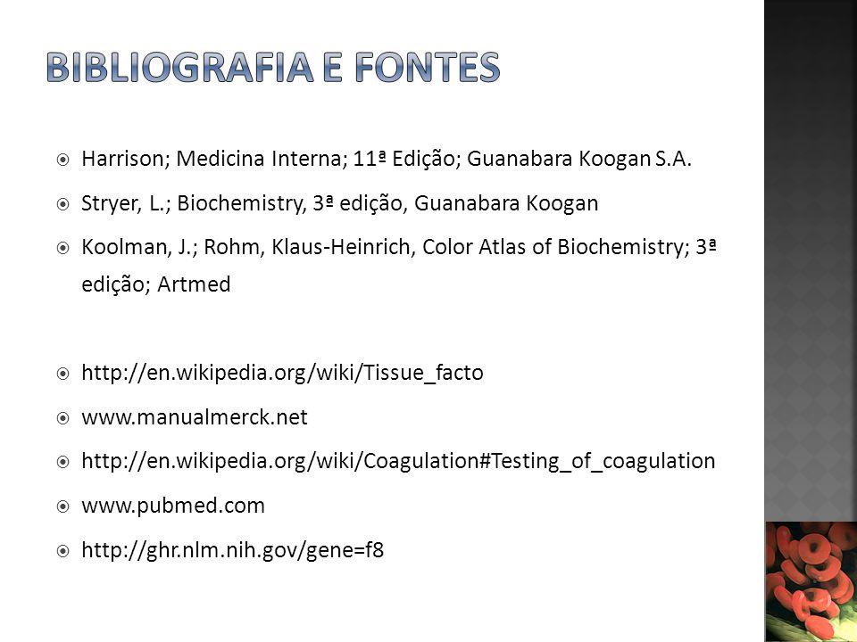 Harrison; Medicina Interna; 11ª Edição; Guanabara Koogan S.A. Stryer, L.; Biochemistry, 3ª edição, Guanabara Koogan Koolman, J.; Rohm, Klaus-Heinrich,