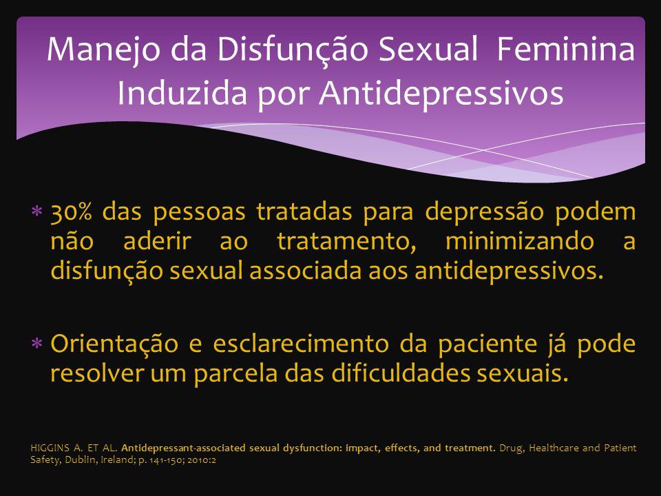 30% das pessoas tratadas para depressão podem não aderir ao tratamento, minimizando a disfunção sexual associada aos antidepressivos.