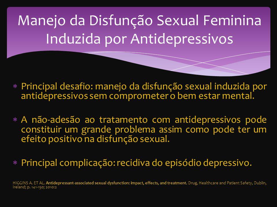 Principal desafio: manejo da disfunção sexual induzida por antidepressivos sem comprometer o bem estar mental.