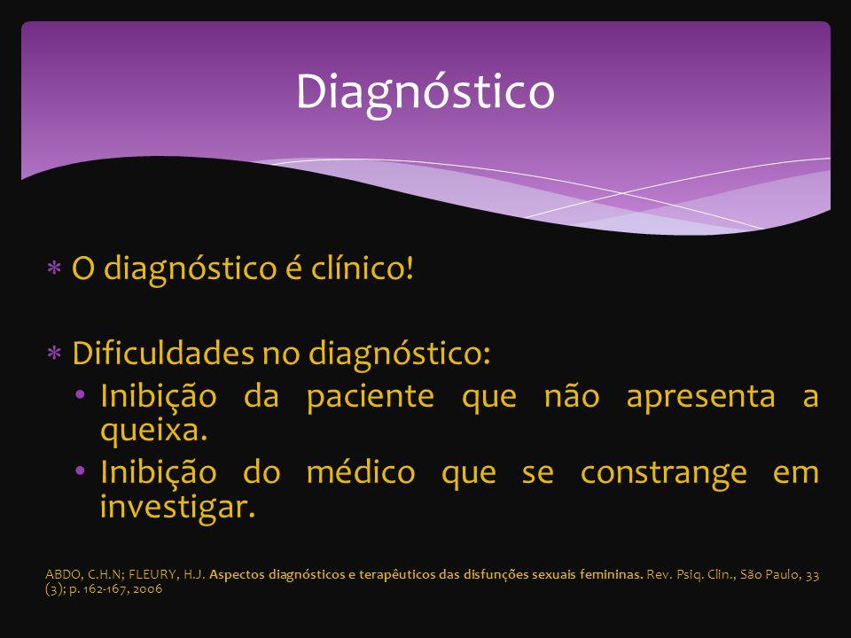 O diagnóstico é clínico.