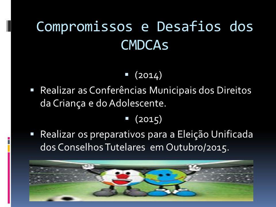 Compromissos e Desafios dos CMDCAs 1. Realizar a reunião inicial de criação do Polo Regional com a eleição de 01 Coordenador e 01 Coordenador Adjunto.