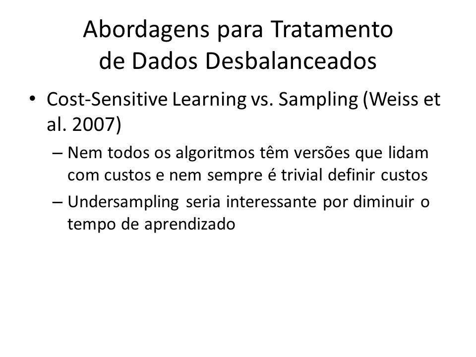 Abordagens para Tratamento de Dados Desbalanceados Cost-Sensitive Learning vs. Sampling (Weiss et al. 2007) – Nem todos os algoritmos têm versões que