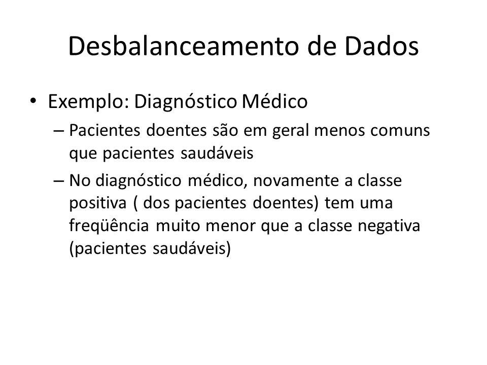 Desbalanceamento de Dados Exemplo: Diagnóstico Médico – Pacientes doentes são em geral menos comuns que pacientes saudáveis – No diagnóstico médico, n