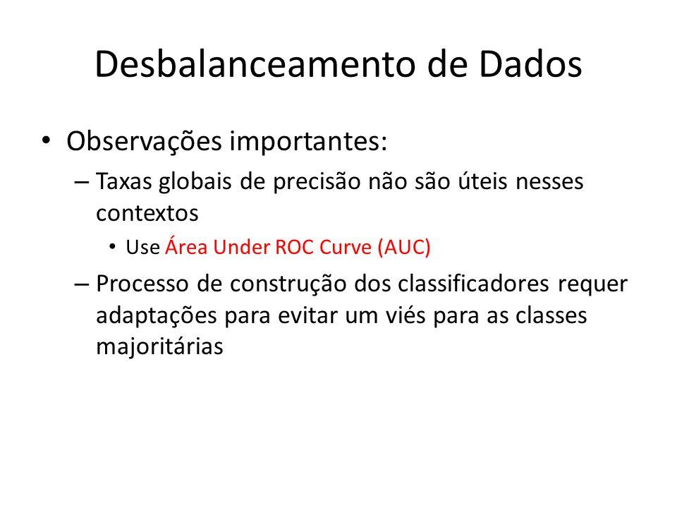 Desbalanceamento de Dados Observações importantes: – Taxas globais de precisão não são úteis nesses contextos Use Área Under ROC Curve (AUC) – Process