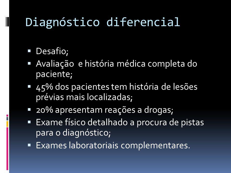Diagnóstico diferencial Desafio; Avaliação e história médica completa do paciente; 45% dos pacientes tem história de lesões prévias mais localizadas;