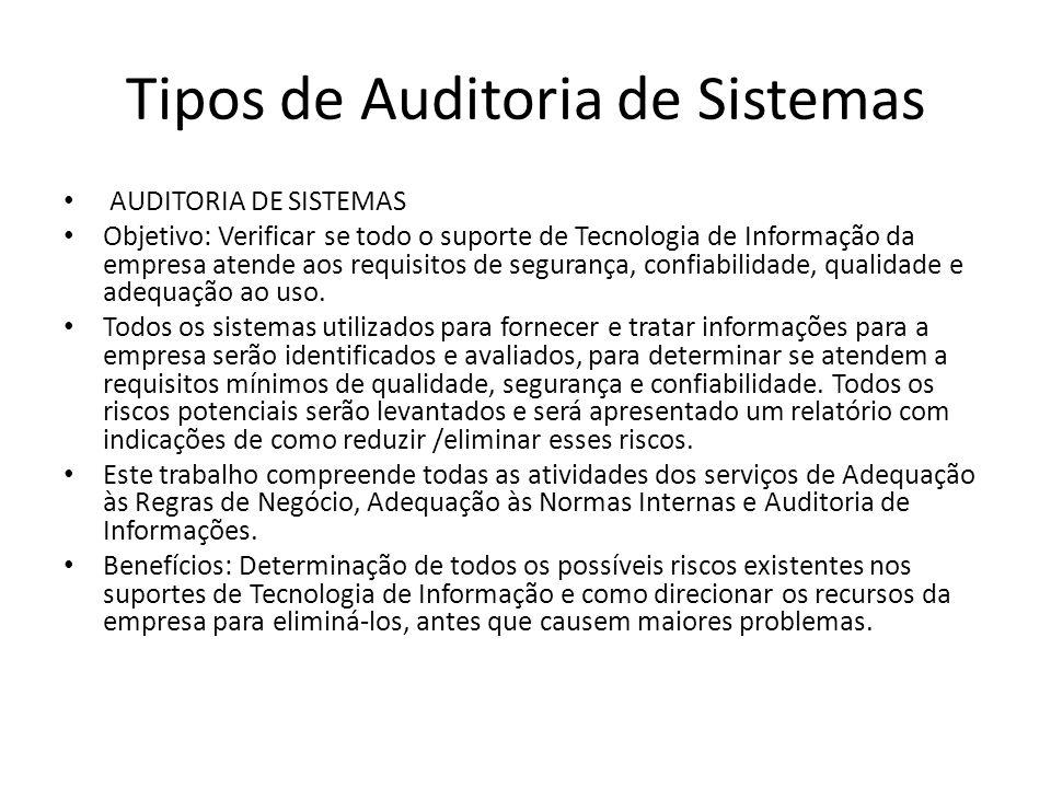 Tipos de Auditoria de Sistemas AUDITORIA DE SISTEMAS Objetivo: Verificar se todo o suporte de Tecnologia de Informação da empresa atende aos requisitos de segurança, confiabilidade, qualidade e adequação ao uso.