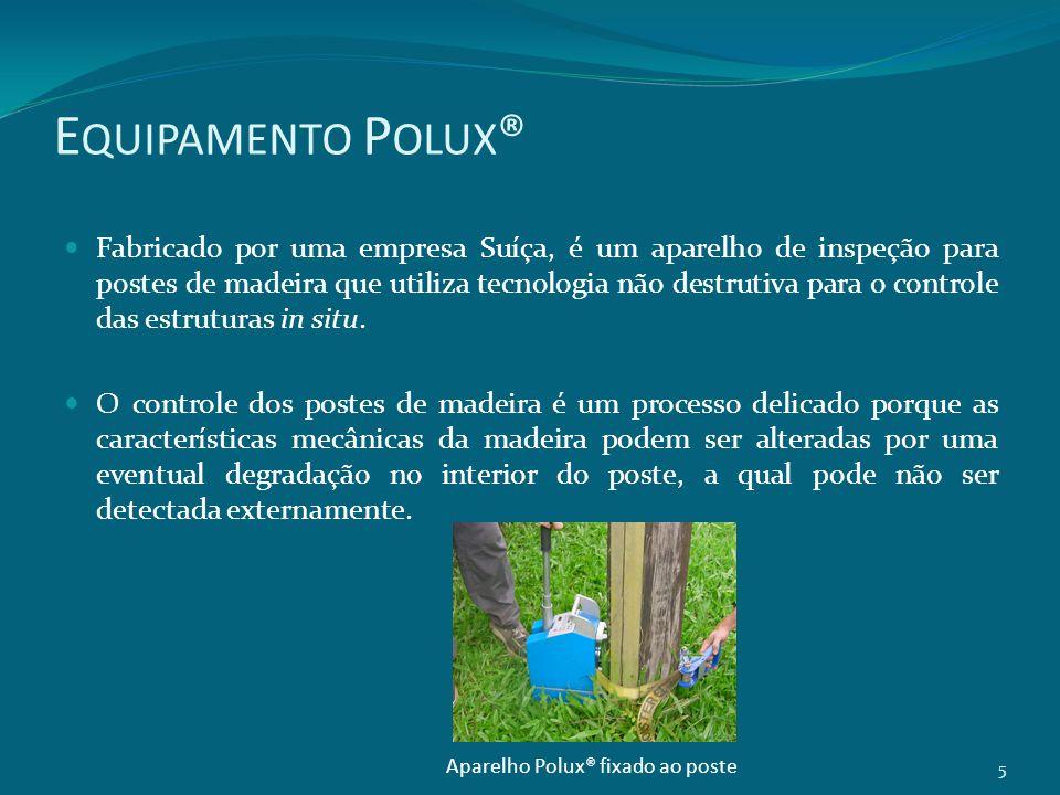 E QUIPAMENTO P OLUX ® Fabricado por uma empresa Suíça, é um aparelho de inspeção para postes de madeira que utiliza tecnologia não destrutiva para o c