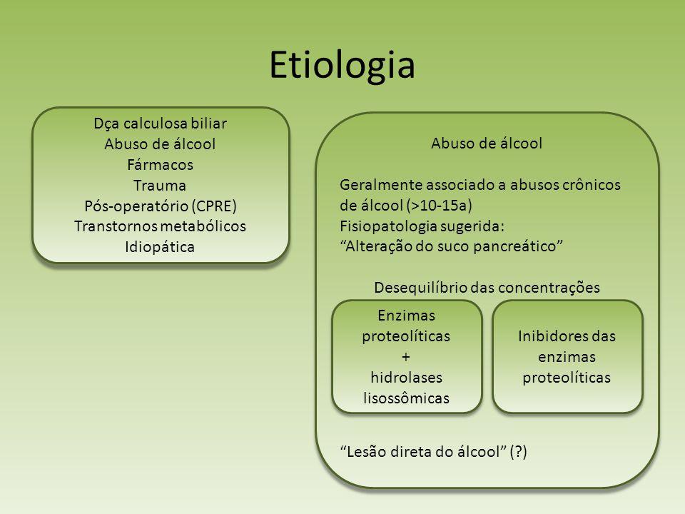 Etiologia Abuso de álcool Geralmente associado a abusos crônicos de álcool (>10-15a) Fisiopatologia sugerida: Alteração do suco pancreático Desequilíb