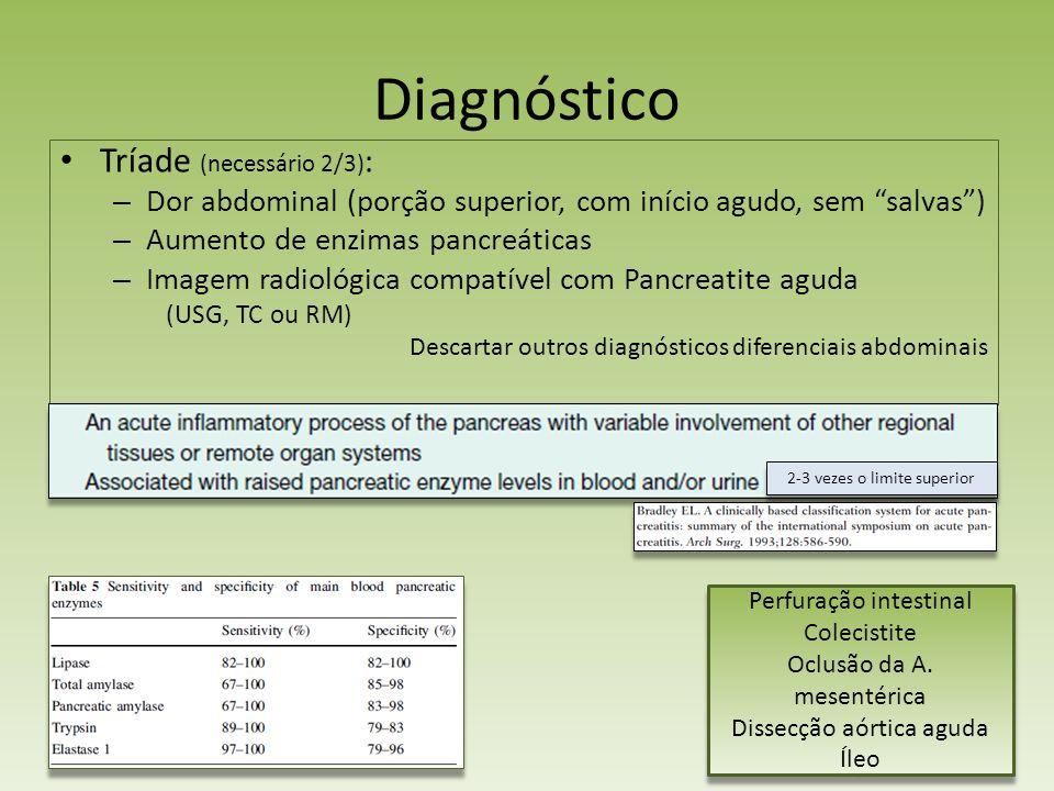 Diagnóstico Tríade (necessário 2/3) : – Dor abdominal (porção superior, com início agudo, sem salvas) – Aumento de enzimas pancreáticas – Imagem radio