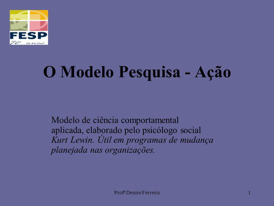 Profª Denise Ferreira2 O Modelo Pesquisa – Ação Compõe-se de cinco etapas: 1.Coleta de Dados 2.Diagnóstico 3.Ação 4.Avaliação 5.Novo Ciclo