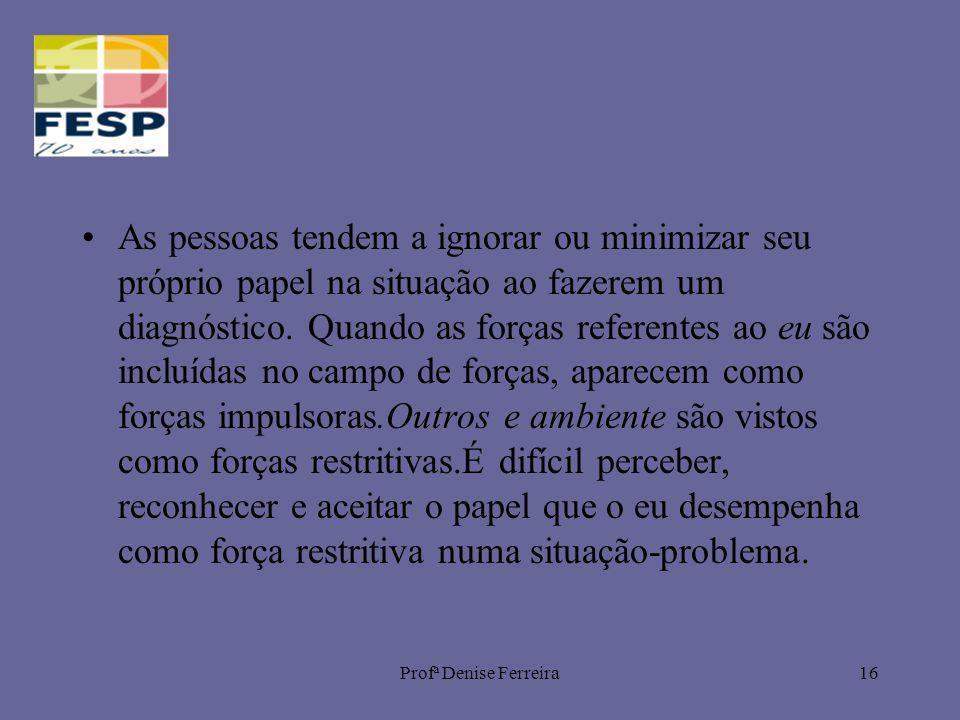Profª Denise Ferreira16 As pessoas tendem a ignorar ou minimizar seu próprio papel na situação ao fazerem um diagnóstico. Quando as forças referentes