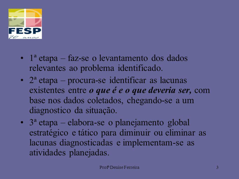 Profª Denise Ferreira3 1ª etapa – faz-se o levantamento dos dados relevantes ao problema identificado. 2ª etapa – procura-se identificar as lacunas ex