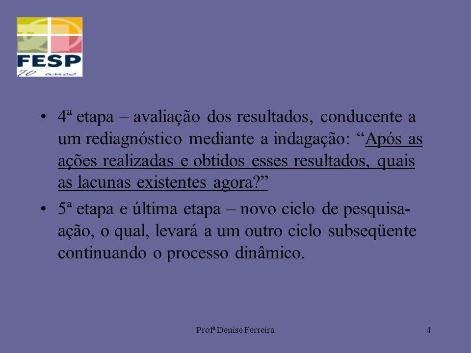 Profª Denise Ferreira4 4ª etapa – avaliação dos resultados, conducente a um rediagnóstico mediante a indagação: Após as ações realizadas e obtidos ess