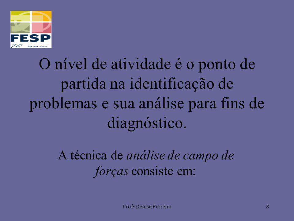 Profª Denise Ferreira8 O nível de atividade é o ponto de partida na identificação de problemas e sua análise para fins de diagnóstico. A técnica de an