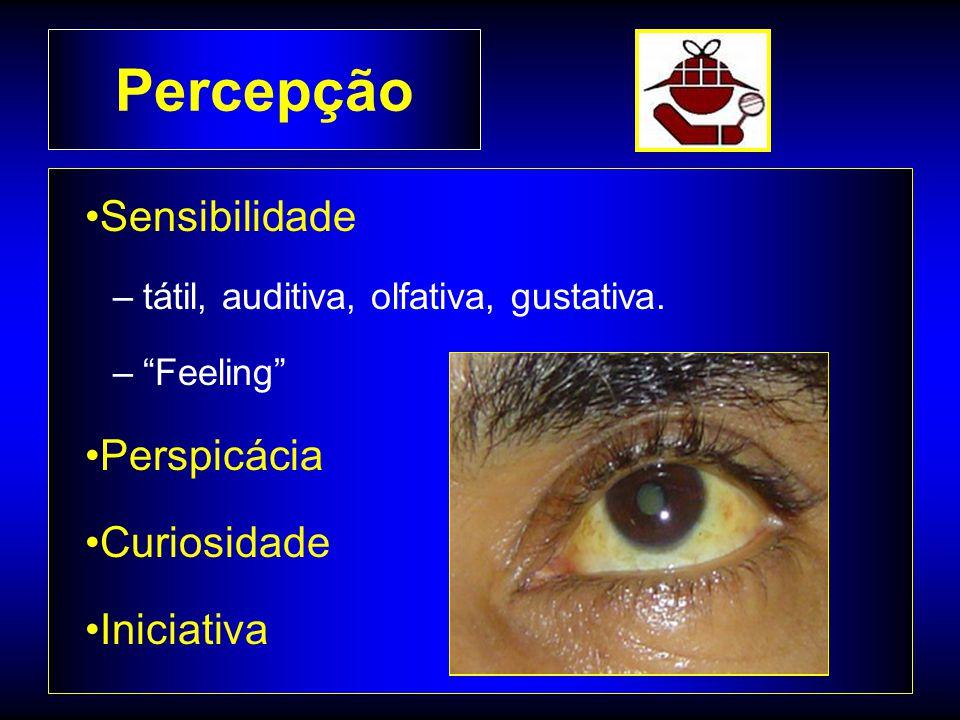 Percepção Sensibilidade –tátil, auditiva, olfativa, gustativa.