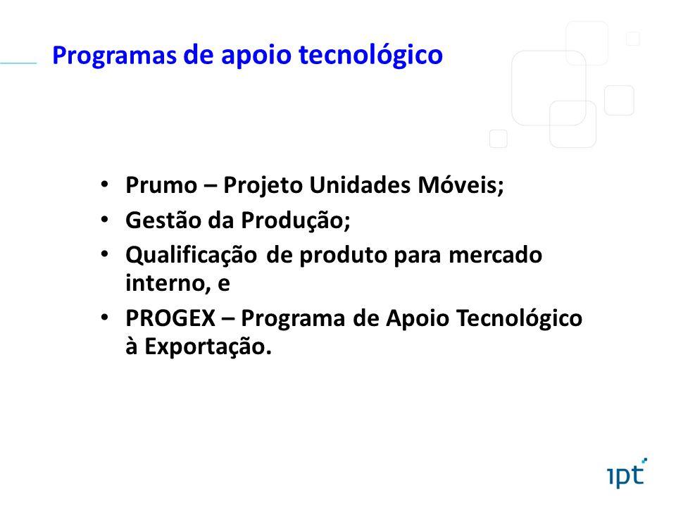 Programas de apoio tecnológico Prumo – Projeto Unidades Móveis; Gestão da Produção; Qualificação de produto para mercado interno, e PROGEX – Programa