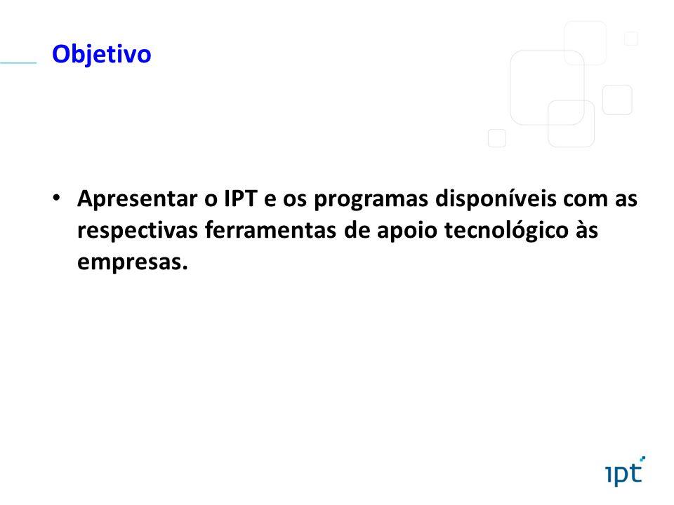 Objetivo Apresentar o IPT e os programas disponíveis com as respectivas ferramentas de apoio tecnológico às empresas.