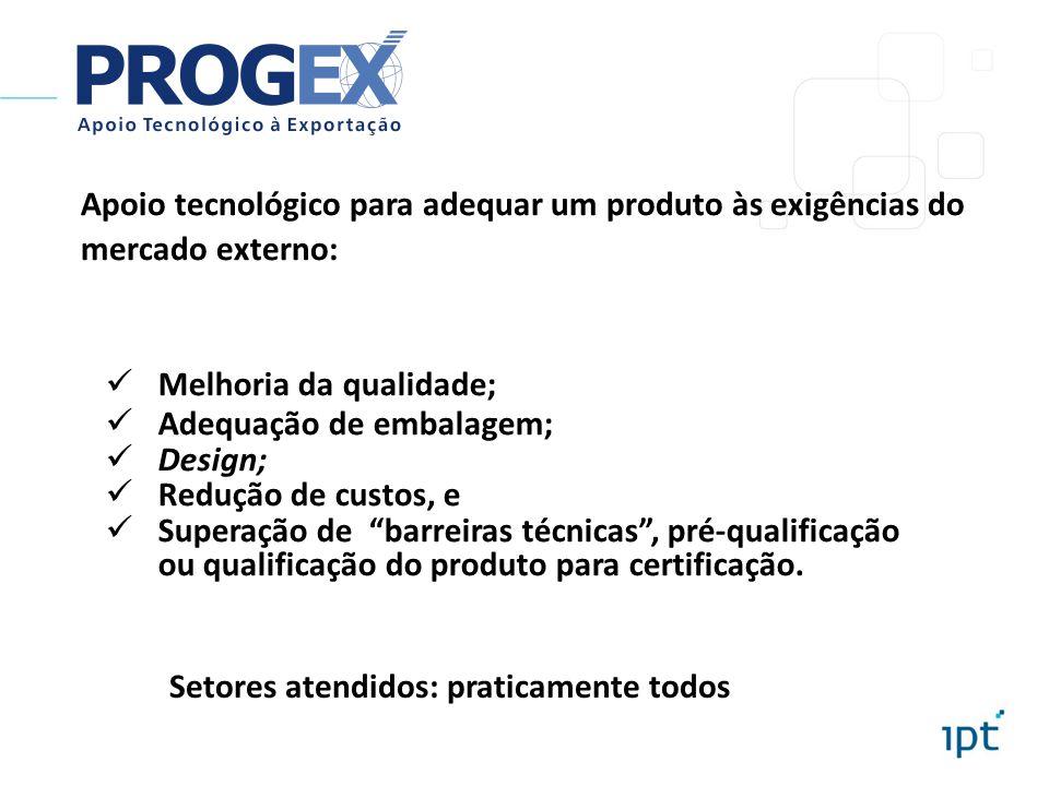 Apoio tecnológico para adequar um produto às exigências do mercado externo: Melhoria da qualidade; Adequação de embalagem; Design; Redução de custos,