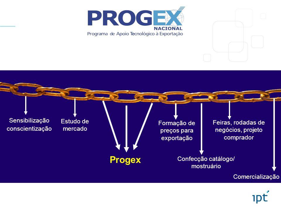 Sensibilização conscientização Estudo de mercado Progex Formação de preços para exportação Confecção catálogo/ mostruário Feiras, rodadas de negócios,